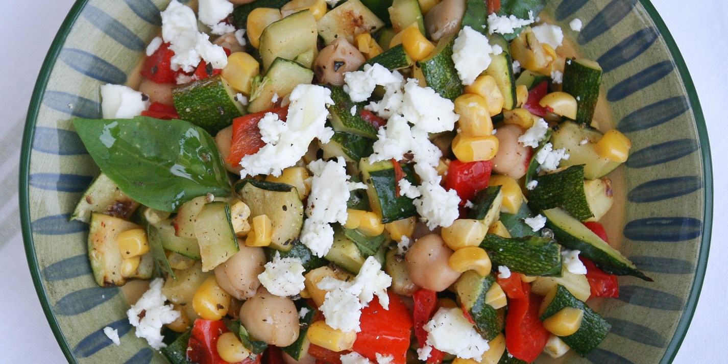 Grilled vegetable and chickpea salad