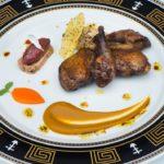 Тосканский голубь с морковью и шоколадным соусом, грибным ризотто и фуа-гра